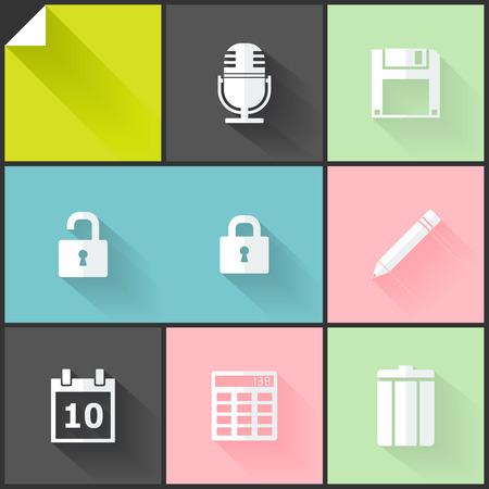 De colores de dos iconos planos (blanco y gris) para las aplicaciones web y m�viles Vectores