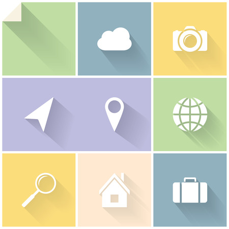 Clean white flat icons for web and mobile applications Vector
