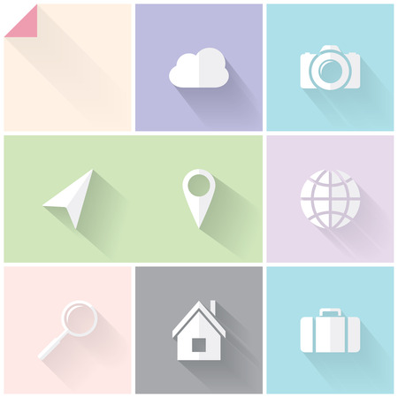 Clean two-colored (white and grey) flat icons for web and mobile applications Vector