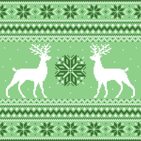 Beautiful green winter ornament with deer and snowflakes Vector