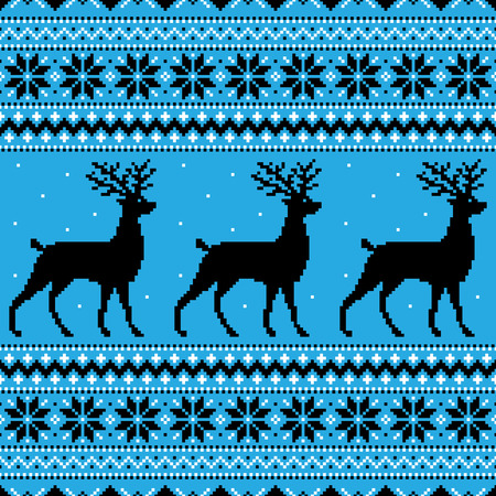 Abstract winter blue background with deer and snowflakes Vector