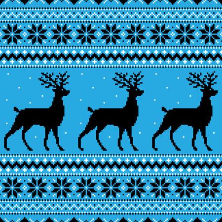 Invierno de fondo azul con los ciervos y los copos de nieve Vectores