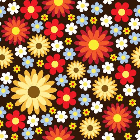 Seamless pattern with pretty flowers on dark background