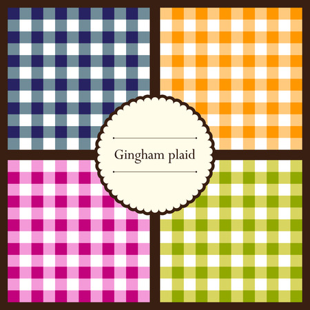 Set of gingham plaid seamless patterns for your design