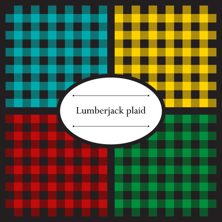 Set of lumberjack plaid seamless patterns for your design Иллюстрация