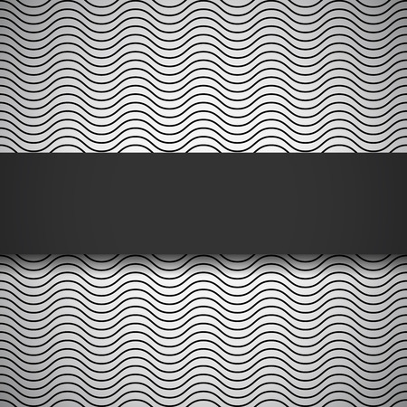 oscillation: Elegant black banner on monochrome seamless pattern with waves