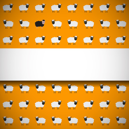 Simple and beautiful banner on seamless pattern with cute sheep Vector