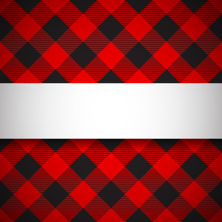 Banner on seamless lumberjack plaid background Иллюстрация