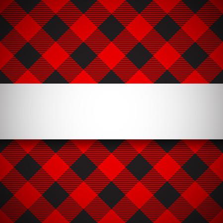 Banner on seamless lumberjack plaid background Vettoriali