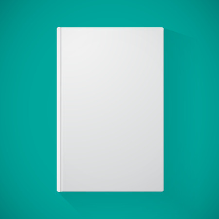 blank magazine: Blank book cover on turquoise background for your design