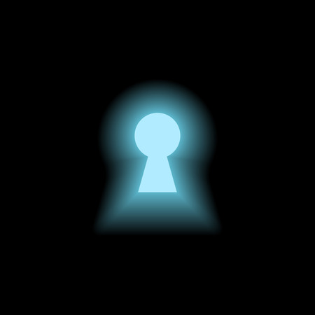 Keyhole with blue light on black background Vector