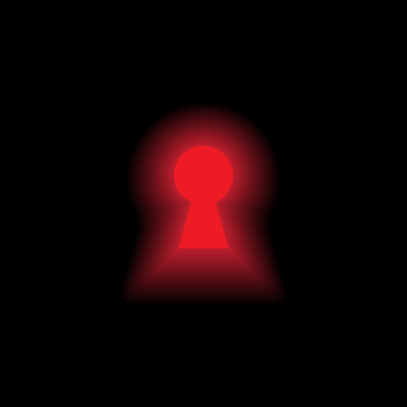 Keyhole with red light on black background Vector