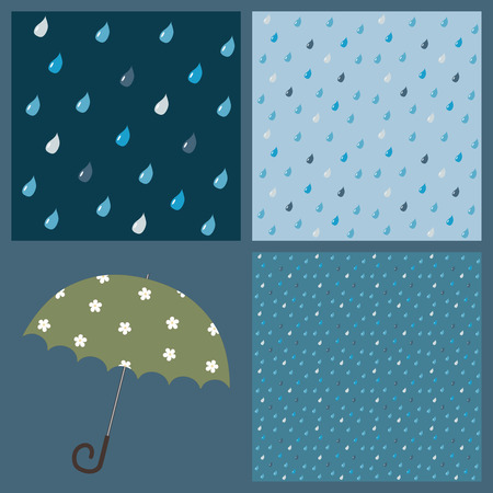 drizzle: A set of 3 colorful patterns with beautiful raindrops (+ umbrella)