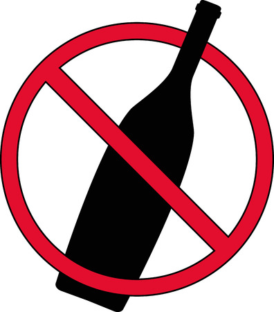 Sign prohibiting drinking alcohol on the streets  Illustration