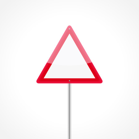 Warning blank traffic sign isolated on white background
