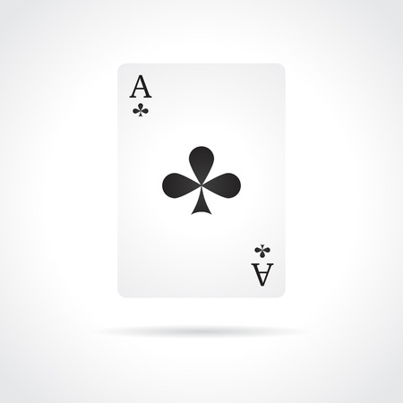 Ace of Clubs isolated on white background