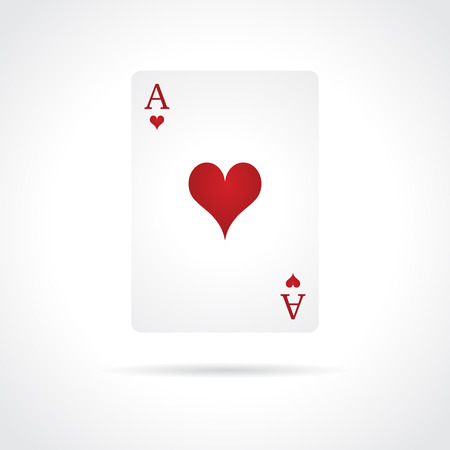 Ace of Hearts isolated on white background Vector