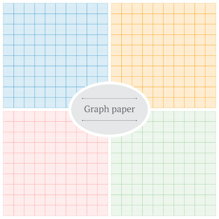 Graph paper. Set of four colorful backgrounds.