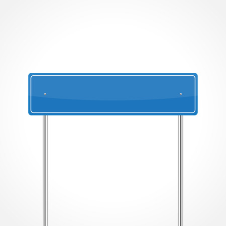 Blank blue traffic sign isolated on white background