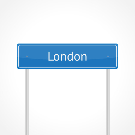 London blue traffic sign isolated on white background