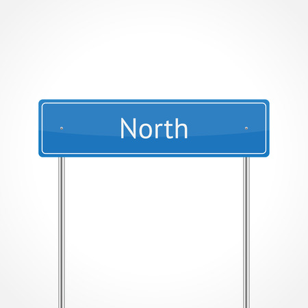 Blue north traffic sign isolated on white background Vector