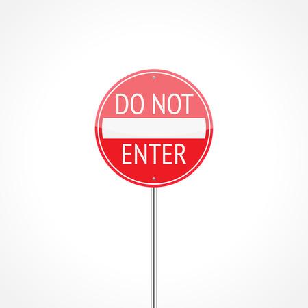 forbidding: Do not enter traffic sign isolated on white background Illustration