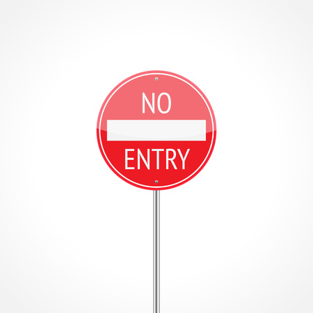 No entry traffic sign isolated on white background Illustration