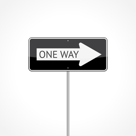 safety signs: One way traffic sign isolated on white background Illustration