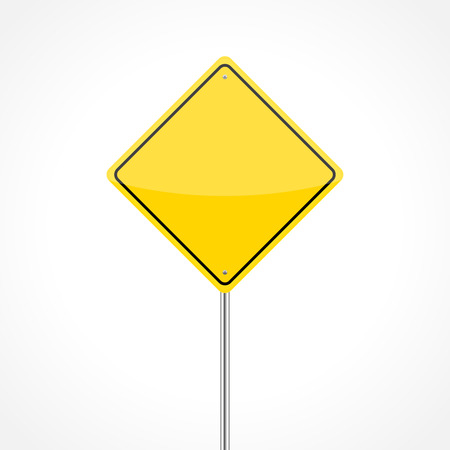 Blank yellow traffic sign isolated on white background Stock Vector - 28987833