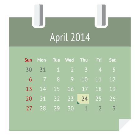 P�gina del calendario de dise�o de metro Piso en abril 2014 la primavera