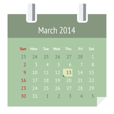 Flat metro design calendar page for March 2014  spring  Illustration