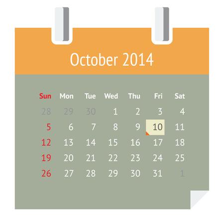 Flat metro design calendar page for October 2014  autumn  Vector