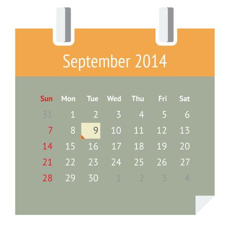 Flat metro design calendar page for September 2014  autumn  Vector