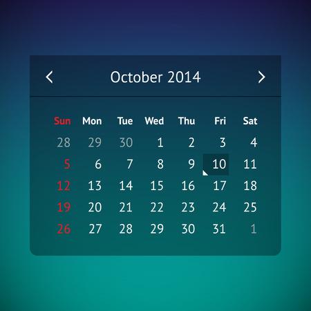 Dark transparent calendar page for October 2014 Vector