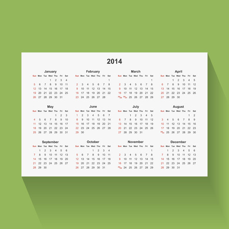 Simple calendar for 2014 isolated on green background. Week starts from Sunday. Vector