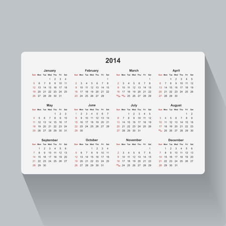 Simple isolated calendar for 2014. Week starts from Sunday. Vector
