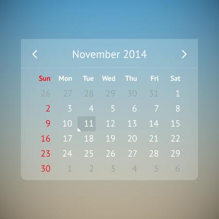 Light transparent calendar page for November 2014 Vector