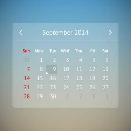 Light transparent calendar page for September 2014 Vector