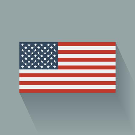 Geïsoleerde platte vlag van de Verenigde Staten Flat ontwerp Stock Illustratie