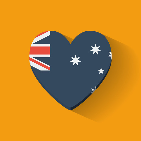 heartshaped: Heart-shaped icon with national flag of Australia  Flat design
