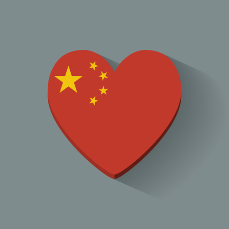 heartshaped: Heart-shaped icon with national flag of China  Flat design