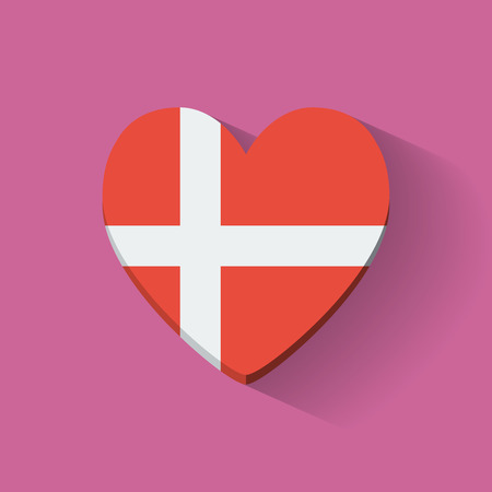 Heart-shaped icon with national flag of Denmark  Flat design  Vector