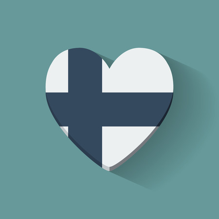 Heart-shaped icon with national flag of Finland. Flat design. Vector