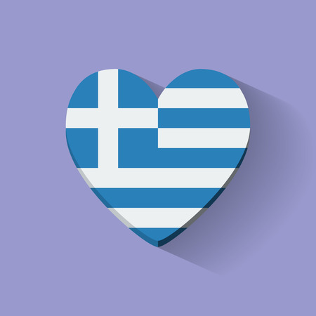 Heart-shaped icon with national flag of Greece. Flat design. Vector