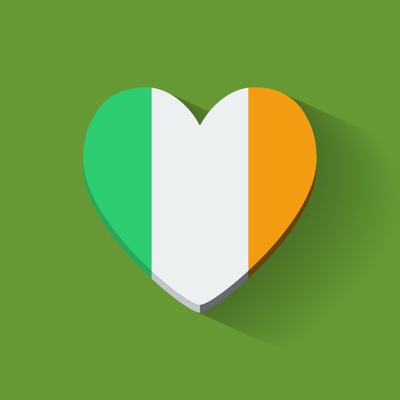 Heart-shaped icon with national flag of Ireland. Flat design. Vector