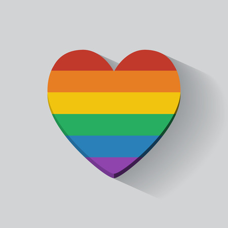 Heart-shaped icon with rainbow flag. Flat design.
