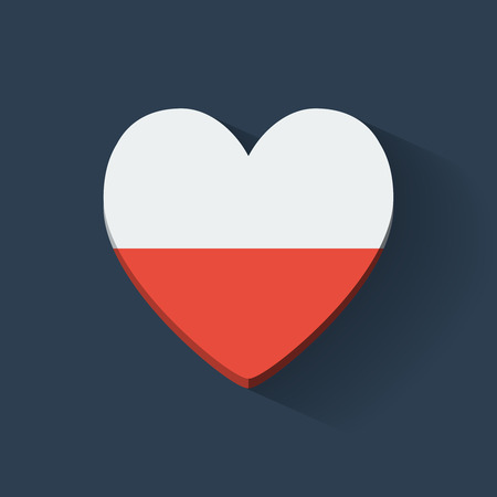 Heart-shaped icon with national flag of Poland. Flat design. Vector