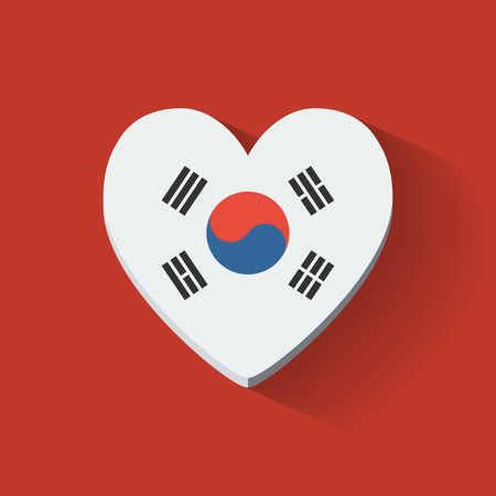 Heart-shaped icon with national flag of South Korea. Flat design. Vector
