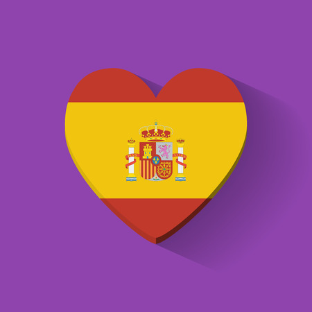 Heart-shaped icon with national flag of Spain  Flat design  Vector