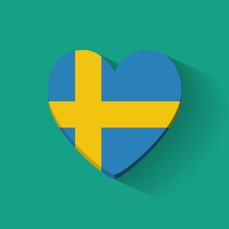 Heart-shaped icon with national flag of Sweden  Flat design  Vector
